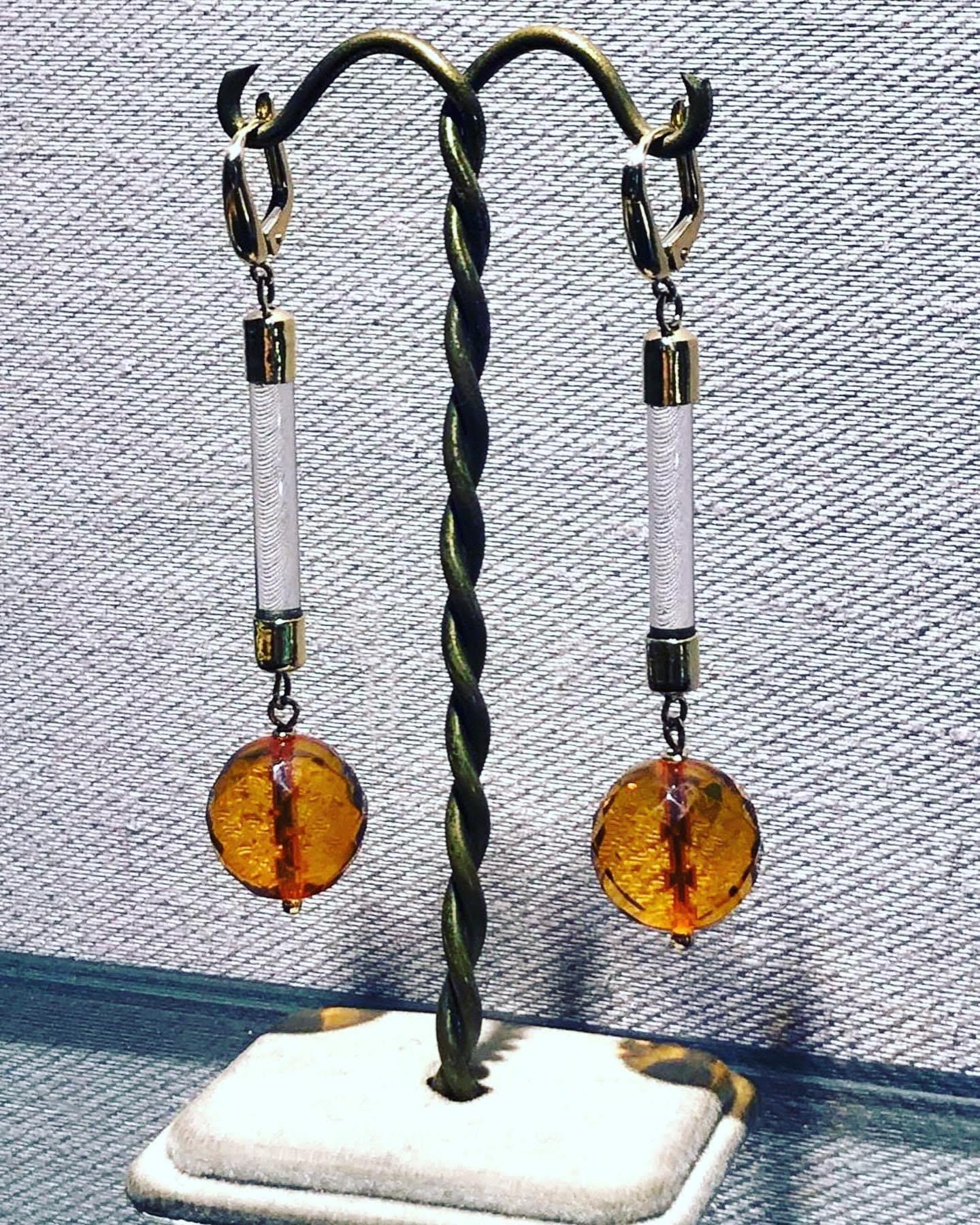 orecchini ambra cristallo ピアス アンバー クリスタル
